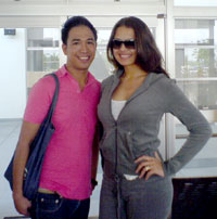 The writer with Priscilla Meirelles.